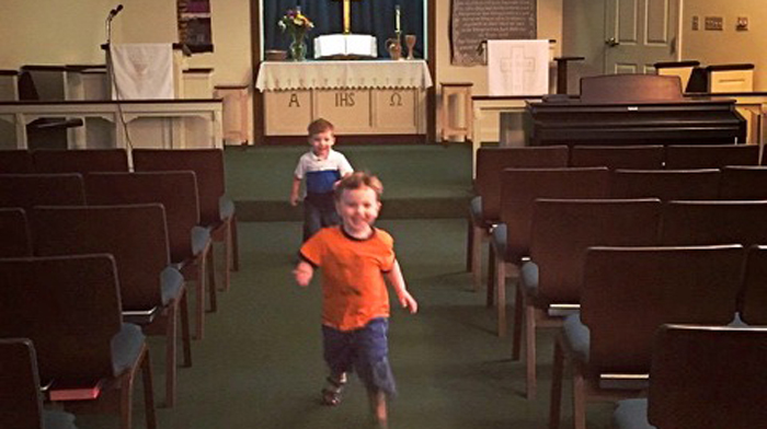 [Toddlers in the UM House chapel, 2015]